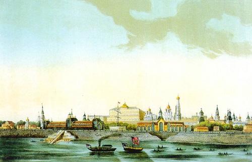 Москва 1908 год. Кремлевская набережная. Большой Москворецкий мост.