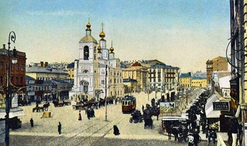 Москва 1908 год. Охотный ряд. Старые кинохроники. Кадры кинохроники