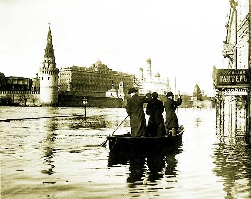Наводнение в Москве 1908 г. много фото. Старая кинохроника.
