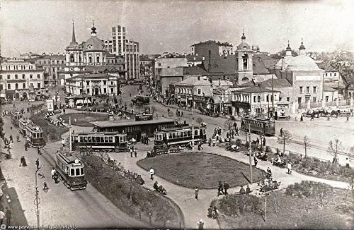 Арбатская площадь в нач. XX века. Старое видео Москвы.
