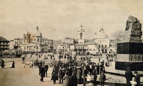 Арбатская площадь в середине 20-х годов XX века. Старое видео Москвы.Памятник Гоголю в нач 20 века