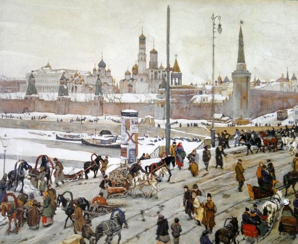 Москва 1908 год. Кремлевская набережная. Большой Москворецкий мост. Картина Юона