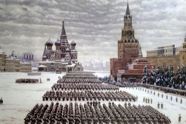 Красная площадь. Юон. Красная площадь. Парад 7 ноября 1922 года. Кинохроника.