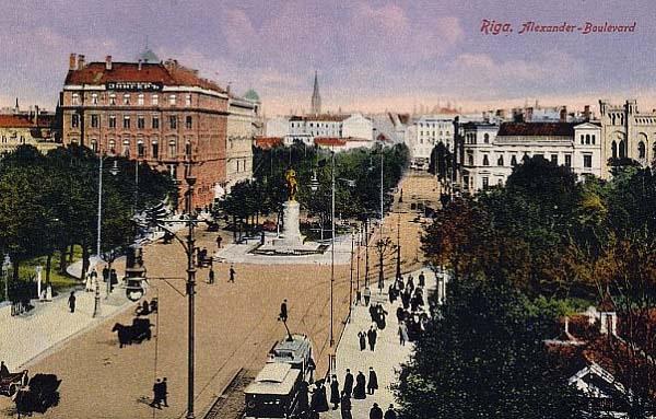 Александровский бульвар в Риге. 1910 год