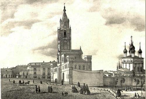 Вид Страстного монастыря в 19 веке