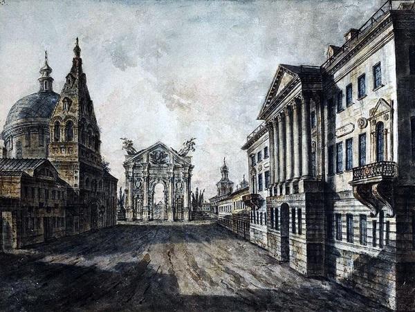 Страстная площадь. Алексеев 1800 г. Страстная площадь в 1922 г. Показ фильмов и фотографий москвичам.