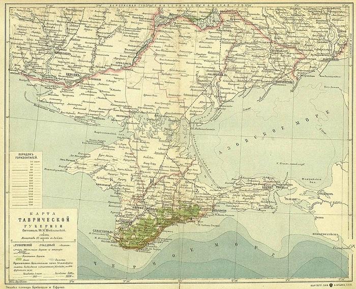 Карта Таврической губернии, 1900 г.