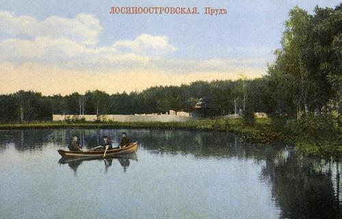Мытищи и окрестности (Кинохроника и галерея старых фото) Станция Лосиноостровская пруд нач 20 века